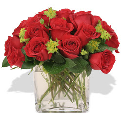 Kıbrıs çiçek , çiçekçi , çiçekçilik  10 adet kirmizi gül ve cam yada mika vazo