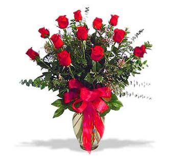çiçek siparisi 11 adet kirmizi gül cam vazo  Kıbrıs cicekciler , cicek siparisi