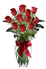 11 adet kirmizi gül vazo mika vazo içinde  Kıbrıs hediye sevgilime hediye çiçek