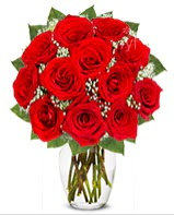 12 adet vazoda kıpkırmızı gül  Kıbrıs uluslararası çiçek gönderme
