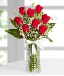 7 Adet vazoda kırmızı gül sevgiliye özel  Kıbrıs çiçekçiler