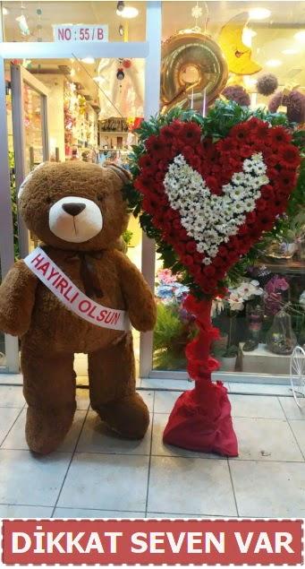 1.5 Metre peluş ayı ve Kalp  Kıbrıs çiçek gönderme
