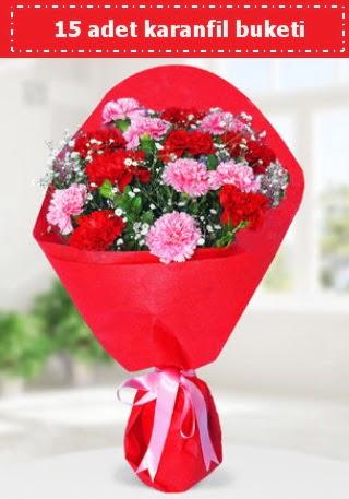 15 adet karanfilden hazırlanmış buket  Kıbrıs 14 şubat sevgililer günü çiçek