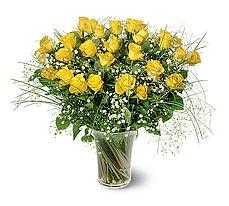 Kıbrıs çiçekçiler  15 adet sarigül mika yada cam vazoda
