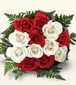 Kıbrıs hediye çiçek yolla  10 adet kirmizi beyaz güller - anneler günü için ideal seçimdir -