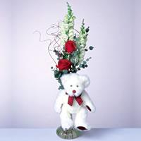 2 adet gül ve panda özel  Kıbrıs internetten çiçek satışı