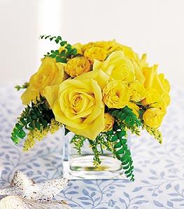 Kıbrıs 14 şubat sevgililer günü çiçek  cam içerisinde 12 adet sari gül