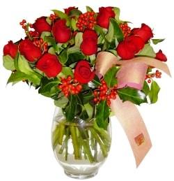 Kıbrıs internetten çiçek satışı  11 adet kirmizi gül  cam aranjman halinde