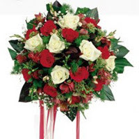 Kıbrıs çiçekçi mağazası  6 adet kirmizi 6 adet beyaz ve kir çiçekleri buket