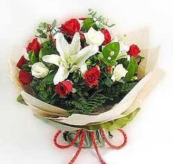 güller ve kazablanklardan görsel bir buket  Kıbrıs internetten çiçek siparişi