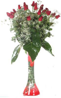 Kıbrıs anneler günü çiçek yolla  19 ADET GÜL VE FIL CAM AYAGI