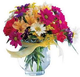 Kıbrıs internetten çiçek siparişi  cam yada mika içerisinde karisik mevsim çiçekleri