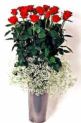 Kıbrıs uluslararası çiçek gönderme  9 adet kirmizi gül cam yada mika vazoda