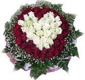 Kıbrıs güvenli kaliteli hızlı çiçek  27 adet kirmizi ve beyaz gül sepet içinde