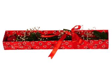 Kıbrıs çiçek , çiçekçi , çiçekçilik  kutu içerisinde 1 adet kirmizi gül