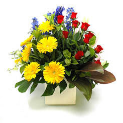 Kıbrıs cicekciler , cicek siparisi  9 adet gül ve kir çiçekleri cam yada mika vazoda