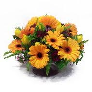 gerbera ve kir çiçek masa aranjmani  Kıbrıs cicek , cicekci