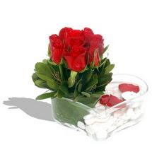 Mika kalp içerisinde 9 adet kirmizi gül  Kıbrıs kaliteli taze ve ucuz çiçekler