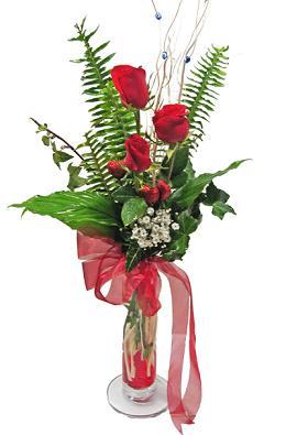 Çiçek gönderin cam vazoda 3 gül çiçekleri  Kıbrıs çiçekçiler