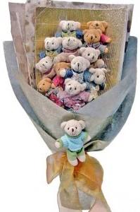 12 adet ayiciktan buket tanzimi  Kıbrıs uluslararası çiçek gönderme