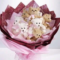 9 adet ayiciktan buket  Kıbrıs online çiçek gönderme sipariş