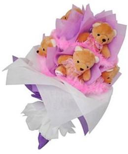 9 adet ayiciktan buket  Kıbrıs çiçek servisi , çiçekçi adresleri