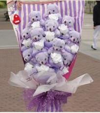11 adet pelus ayicik buketi  Kıbrıs çiçek gönderme
