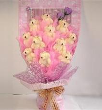 11 adet pelus ayicik buketi  Kıbrıs çiçekçi telefonları