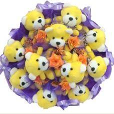 11 adet pelus ayicik buketi  Kıbrıs güvenli kaliteli hızlı çiçek