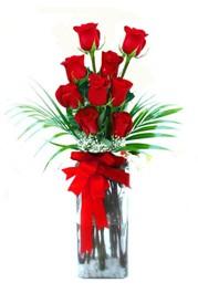 Kıbrıs çiçek , çiçekçi , çiçekçilik  9 adet mika yada cam vazoda gül tanzimi
