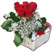 Kıbrıs online çiçekçi , çiçek siparişi  kalp mika içerisinde 7 adet kirmizi gül