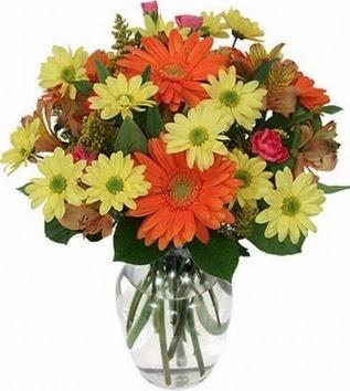 Kıbrıs çiçek servisi , çiçekçi adresleri  vazo içerisinde karışık mevsim çiçekleri