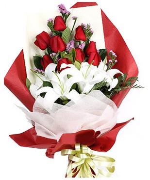 Kıbrıs çiçek siparişi vermek  1 dal kazablankaa 9 adet kırmızı gül buketi