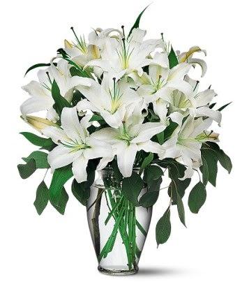 Kıbrıs internetten çiçek siparişi  4 dal kazablanka ile görsel vazo tanzimi