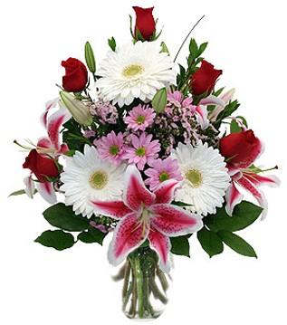 Kıbrıs güvenli kaliteli hızlı çiçek  1 dal kazablanka 5 gül ve kırçiçeği vazosu