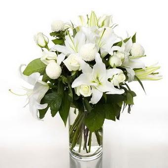 Kıbrıs çiçek gönderme  1 dal cazablanca 7 adet beyaz gül vazosu