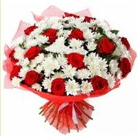 11 adet kırmızı gül ve beyaz kır çiçeği  Kıbrıs internetten çiçek siparişi