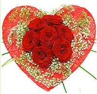 Mika kalp içerisinde 7 adet kırmızı gül  Kıbrıs internetten çiçek satışı