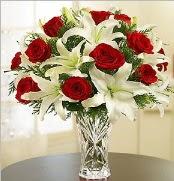 12 adet kırmızı gül 2 dal kazablanka vazosu  Kıbrıs ucuz çiçek gönder