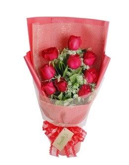 9 adet kırmızı gülden görsel buket  Kıbrıs çiçekçi mağazası
