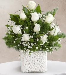 9 beyaz gül vazosu  Kıbrıs ucuz çiçek gönder