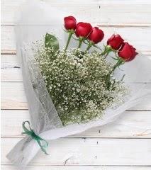 5 kırmızı gülden sade buket  Kıbrıs çiçekçi telefonları