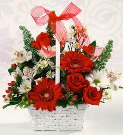 Karışık rengarenk mevsim çiçek sepeti  Kıbrıs online çiçek gönderme sipariş