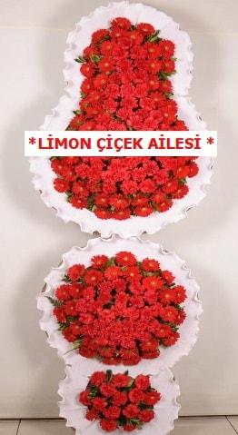 3 katlı kırmızı düğün açılış çiçeği  Kıbrıs çiçek satışı