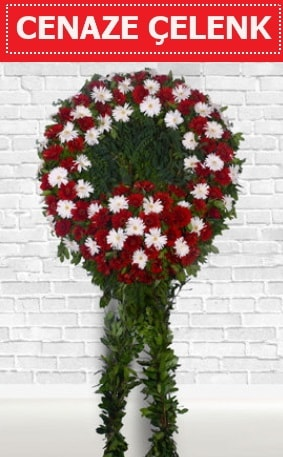 Kırmızı Beyaz Çelenk Cenaze çiçeği  Kıbrıs çiçek yolla