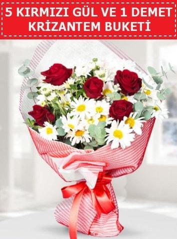 5 adet kırmızı gül ve krizantem buketi  Kıbrıs ucuz çiçek gönder