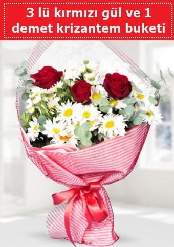 3 adet kırmızı gül ve krizantem buketi  Kıbrıs çiçek gönderme