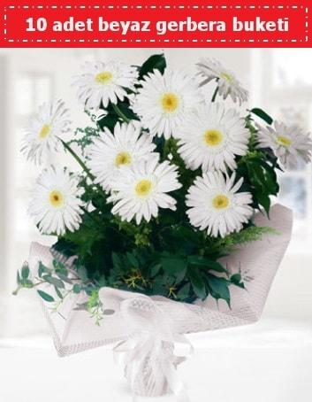 10 Adet beyaz gerbera buketi  Kıbrıs hediye çiçek yolla