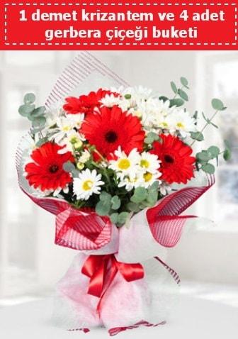Krizantem ve Gerbera Buketi  Kıbrıs çiçekçiler