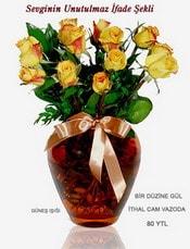 Kıbrıs internetten çiçek siparişi  mika yada Cam vazoda 12 adet sari gül